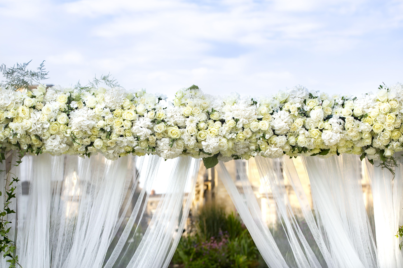Arche blanche roses et hortensias