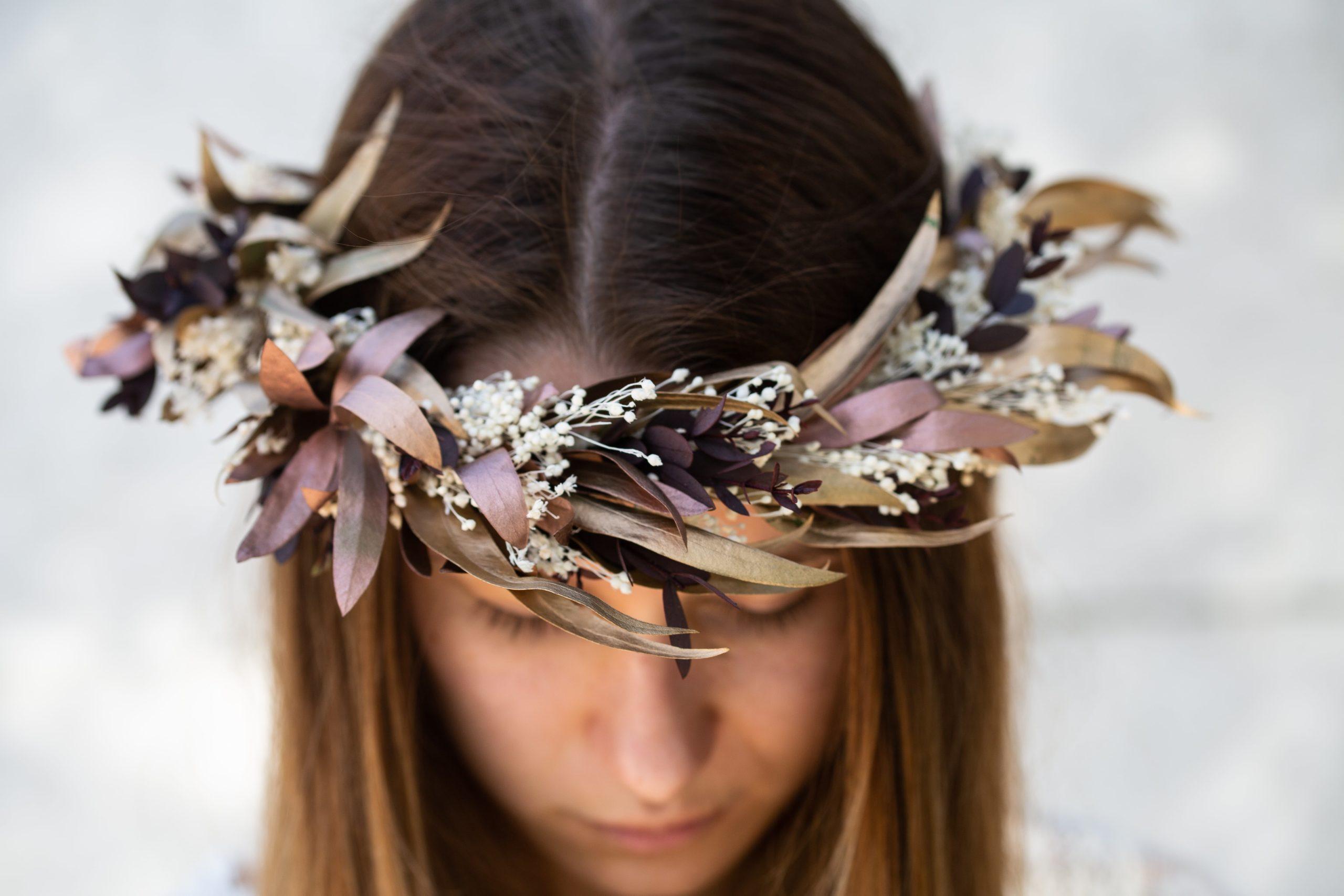 Une couronne de fleurs séchées tout en douceur